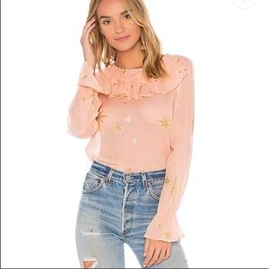 NWOT for love and lemons pink and gold star top- S